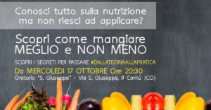 Corso Pratico di Buone e Sane Abitudini Alimentari e Nutrizione @ FIT CLUB Vighizzolo   Cantù   Lombardia   Italia