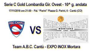 Basket serie CGold Ovest 10^ g: Team ABC Cantù-  EXPO Inox Mortara @ Palasport Parini   Cantù   Lombardia   Italia